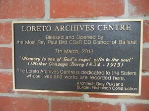 Loreto Archives Centre Plaque